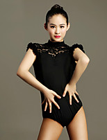 Latin Dance Leotards Women's Performance Lace / Viscose Lace 1 Piece Black / Red  Short Sleeve Natural Leotard