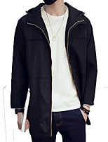 Men's Solid Casual / Work / Formal / Plus Sizes Trench coat,Polyester Long Sleeve-Black / Blue / Gray