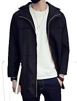 Effen-Informeel / Werk / Formeel / Grote maten-Heren-Polyester-Trenchcoat-Lange mouw Zwart / Blauw / Grijs