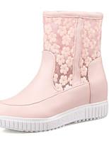 Mujer-Tacón Plano-Botas a la Moda-Botas-Boda / Casual / Fiesta y Noche-Materiales Personalizados-Rosa / Blanco