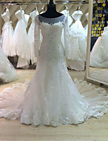 A-line Wedding Dress Cathedral Train Bateau Tulle with Appliques / Beading / Ruffle