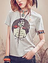 Damen Druck Einfach Lässig/Alltäglich T-shirt,Rundhalsausschnitt Sommer Kurzarm Schwarz / Grau Baumwolle Dünn
