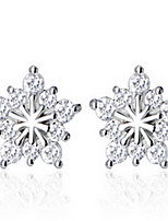 Women 925 Fine Silver Stud Zircon Earrings for Wedding Party