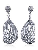 New Women Drop Earrings Fashion Platinum plated White Cubic zircon Trendy Wedding Earring Jewelery