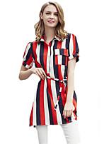 Women's Simple / Street chic Striped Color Block Hin Thin Slim Fashion Plus Size / Sheath Dress,Shirt Collar Above Knee