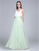 Lanting Bride®Floor-length Tulle / Satin Chiffon Bridesmaid Dress - Two Pieces Sheath / Column Scoop with Buttons