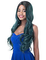 European Vogue Long Sythetic Black Ombre Smoke Green Party Wig For Women