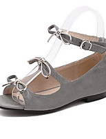 Women's Shoes PU Summer Open Toe / Flats Sandals Outdoor / Office & Career Flat Heel Others Black / Gray