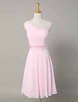 Knee-length Chiffon / Satin Bridesmaid Dress A-line One Shoulder with Sash / Ribbon / Side Draping