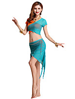 Belly Dance Outfits Women's Performance Modal Sash/Ribbon 3 Pieces  / Burgundy Belly Dance Short Sleeve