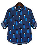 Women's Print Blue Blouse,Shirt Collar ½ Length Sleeve