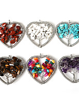 Beadia 1Pc Fashion Stone Pendants 5x5cm Heart Wisdom Tree Pendant