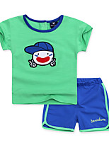 Boy's Casual/Daily Animal Print Clothing Set,Cotton Summer Green / Pink