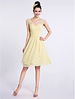 Lanting Bride Knee-length Chiffon / Lace Bridesmaid Dress A-line V-neck with Criss Cross