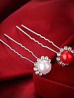 Damen / Blumenmädchen Legierung / Künstliche Perle Kopfschmuck-Hochzeit / Besondere Anlässe Haarklammer 4 Stück