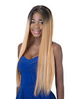European long Sythetic Black Ombre Light Golden Straight Party Wig For Women