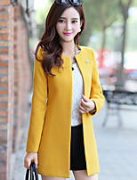 Women's Going out Cute Coat,Solid Round Neck Long Sleeve Fall / Winter Pink / Yellow Polyester Medium