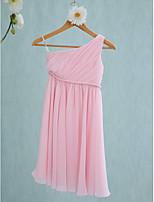 Lanting Bride Tea-length Chiffon Junior Bridesmaid Dress Sheath / Column One Shoulder with Sash / Ribbon / Side Draping