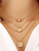 Alloy Gold Layered Chain Necklace with Circle Pendant