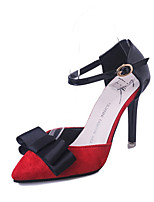Women's Spring Pointed Toe PU Party & Evening Stiletto Heel Bowknot Black / Red