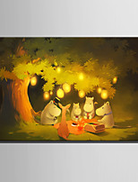 E-HOME® Stretched LED Canvas Print Art Animals Under The Tree LED Flashing Optical Fiber Print One Pcs