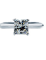 Brand Quality Propose Gift 6*6mm SONA Diamond 1CT Princess Engagement Solitaire Ring for Women Sterling Silver Jewelry