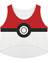 Ispirato da Pocket Monster Ash Ketchum anime Costumi Cosplay Cosplay Tops / Bottoms Con stampe Rosso Senza maniche Top