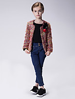 Girl's Casual/Daily Jacquard Blouse / Jacket & Coat,Polyester Winter / Spring / Fall Green / Pink / Red