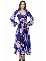 Women's Holiday / Plus Size Boho Swing Dress,Floral Deep V Midi Long Sleeve Blue Polyester Summer