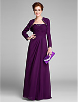 Lanting Bride Sheath / Column Mother of the Bride Dress Floor-length Sleeveless Chiffon with  Side Draping