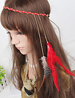 Women's Bohemia Simple Feather Chain Weave Headbands 1 Piece Red
