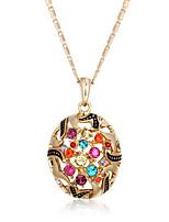 Fashion 18k Gold Plated Alloy Pendant Multicolor CZ Bohemia Hollow Necklaces & Pendants For Women