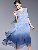 AFOLD® Women's Round Neck 1/2 Length Sleeve Midi Dress-5601