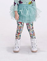 Girl's Casual/Daily Floral Pants / Leggings,Cotton / Spandex All Seasons Green