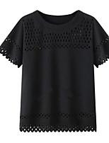 Damen Solide Übergröße / Street Schick Lässig/Alltäglich Bluse,Rundhalsausschnitt Sommer Kurzarm Weiß / Schwarz Baumwolle / Polyester