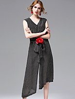 AFOLD® Women's Round Neck Sleeveless Knee-length Dress-5687