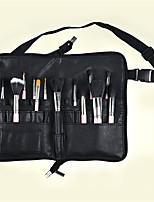 PU Makeup Brush Pocket Folding Bag Full Leather Zipper Handmade