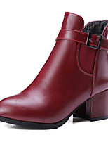 Women's Shoes Fall / Winter Fashion Boots / Round Toe Boots Office & Career / Dress / Casual Chunky Heel Buckle / Gore