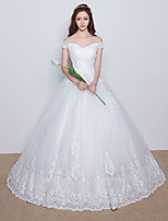 A-line Wedding Dress Floor-length Off-the-shoulder Satin / Tulle with Lace / Appliques / Criss-Cross