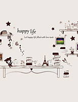 Cartoon DIY Desk Bookshelf Landscape Wall Stickers PVC Removable Fashion Bedroom Wall Decals