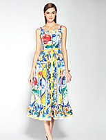 Boutique S Women's Going out Sophisticated Swing Dress,Floral Square Neck Midi Sleeveless Multi-color Cotton