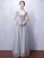 Formal Evening Dress A-line Scoop Floor-length Lace / Tulle with Appliques / Beading