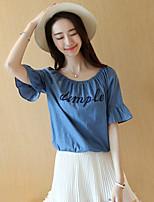 Women's Print Blue Blouse,Boat Neck ½ Length Sleeve