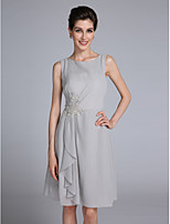 Lanting Bride Sheath / Column Mother of the Bride Dress Knee-length Sleeveless Chiffon with Appliques / Ruffles