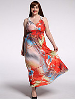 Women's Beach / Plus Size Boho Dress,Floral V Neck Maxi Sleeveless Orange Polyester / Spandex Summer