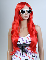 Capless Red Color Long High Quality Natural Curly Hair Synthetic Wig