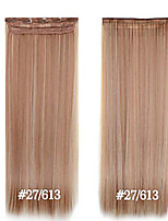 clipe sintético em extensões do cabelo 24inch 5 clips # 27/613 fibra de resistência ao calor grampo de cabelo em linha reta em alto grau