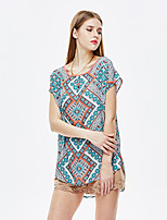 Women's Going out Simple Summer Blouse,Floral Round Neck Short Sleeve Blue Polyester Thin