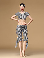 Belly Dance Outfits Women's Training Milk Fiber Draped / Pleated 2 Pieces Zebra Short Sleeve Dropped Top / Pants