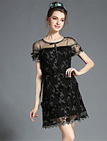 Women's Elegant Sexy See Through Hollow High Embroidered Lace Slim Plus Size Party Dress
